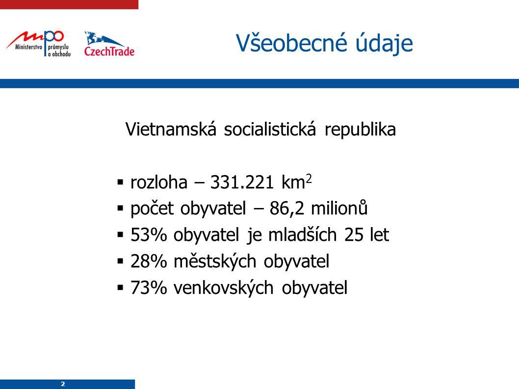 2 2 Všeobecné údaje Vietnamská socialistická republika  rozloha – 331.221 km 2  počet obyvatel – 86,2 milionů  53% obyvatel je mladších 25 let  28% městských obyvatel  73% venkovských obyvatel