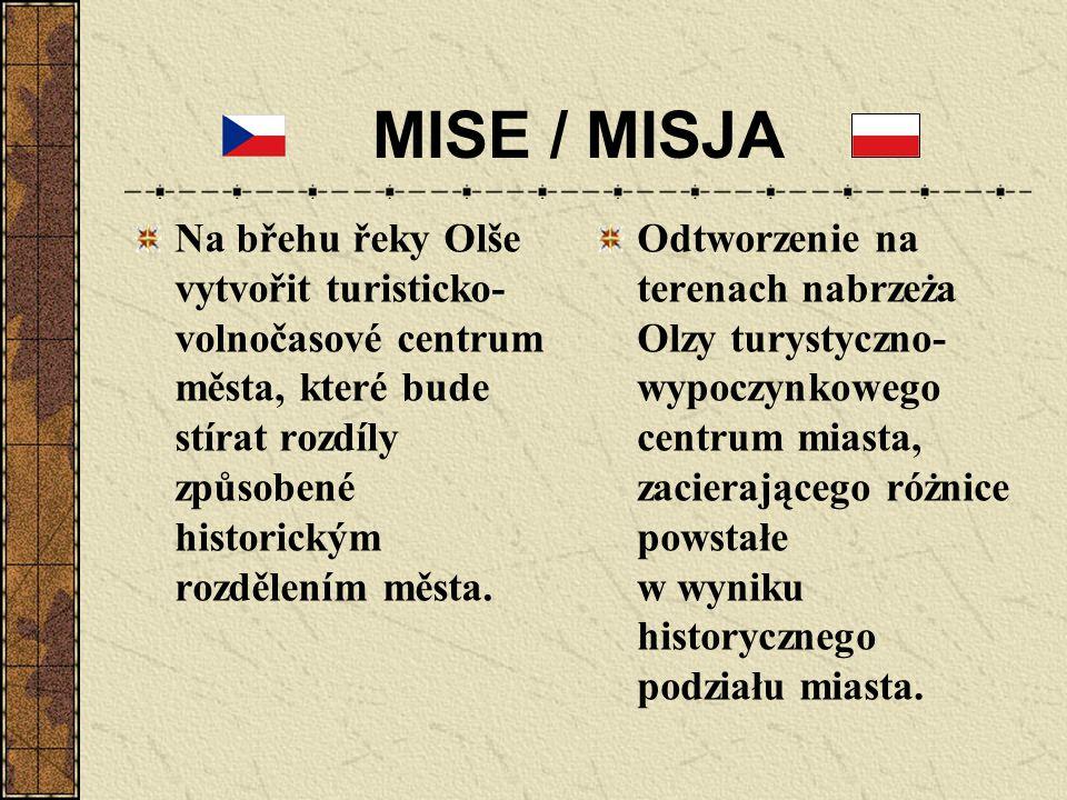 MISE / MISJA Na břehu řeky Olše vytvořit turisticko- volnočasové centrum města, které bude stírat rozdíly způsobené historickým rozdělením města. Odtw