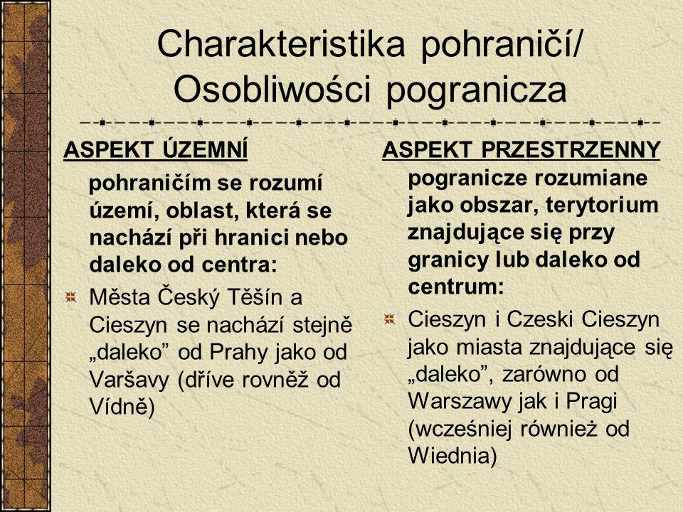 Charakteristika pohraničí/ Osobliwości pogranicza ASPEKT ÚZEMNÍ pohraničím se rozumí území, oblast, která se nachází při hranici nebo daleko od centra