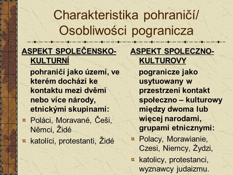 Charakteristika pohraničí/ Osobliwości pogranicza ASPEKT SPOLEČENSKO- KULTURNÍ pohraničí jako území, ve kterém dochází ke kontaktu mezi dvěmi nebo víc