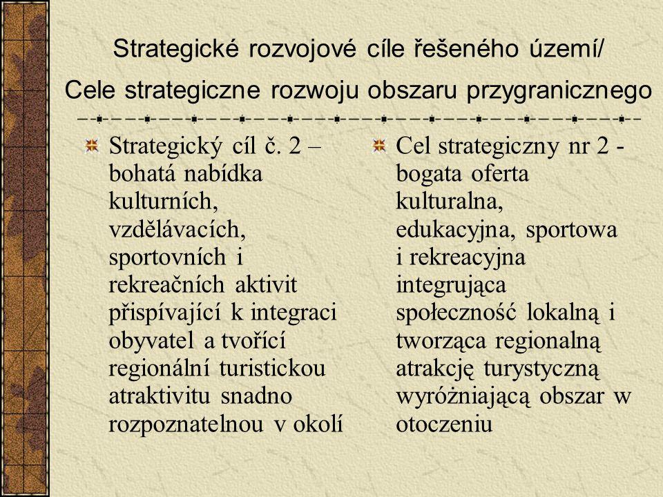 Strategické rozvojové cíle řešeného území/ Cele strategiczne rozwoju obszaru przygranicznego Strategický cíl č. 2 – bohatá nabídka kulturních, vzděláv