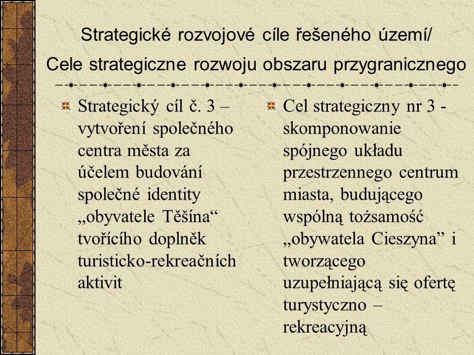 Strategické rozvojové cíle řešeného území/ Cele strategiczne rozwoju obszaru przygranicznego Strategický cíl č. 3 – vytvoření společného centra města