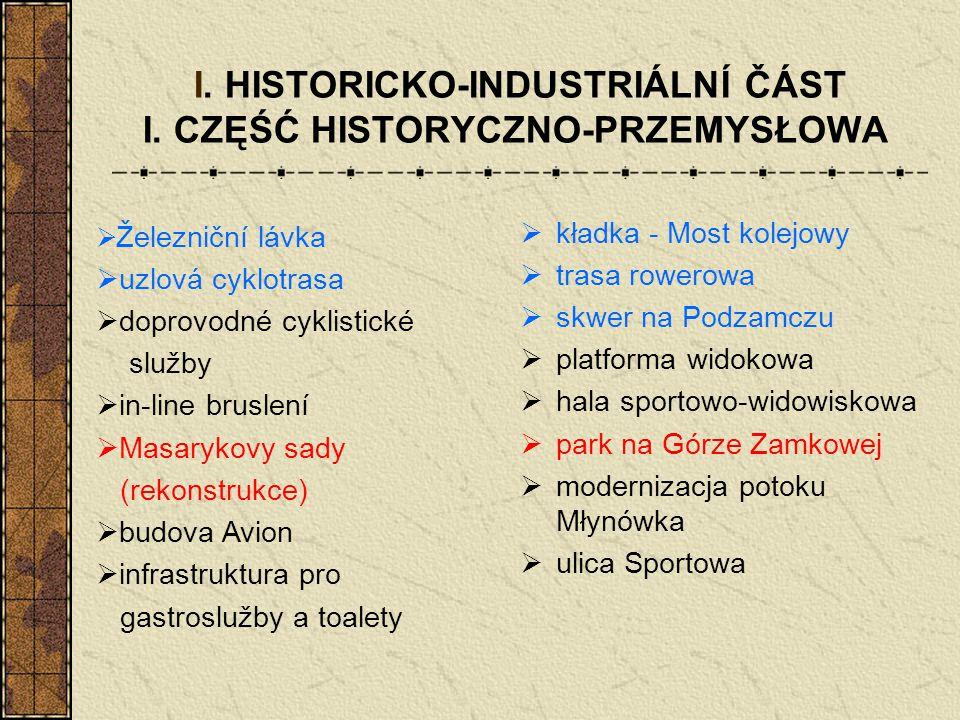 I. HISTORICKO-INDUSTRIÁLNÍ ČÁST I. CZĘŚĆ HISTORYCZNO-PRZEMYSŁOWA  kładka - Most kolejowy  trasa rowerowa  skwer na Podzamczu  platforma widokowa 
