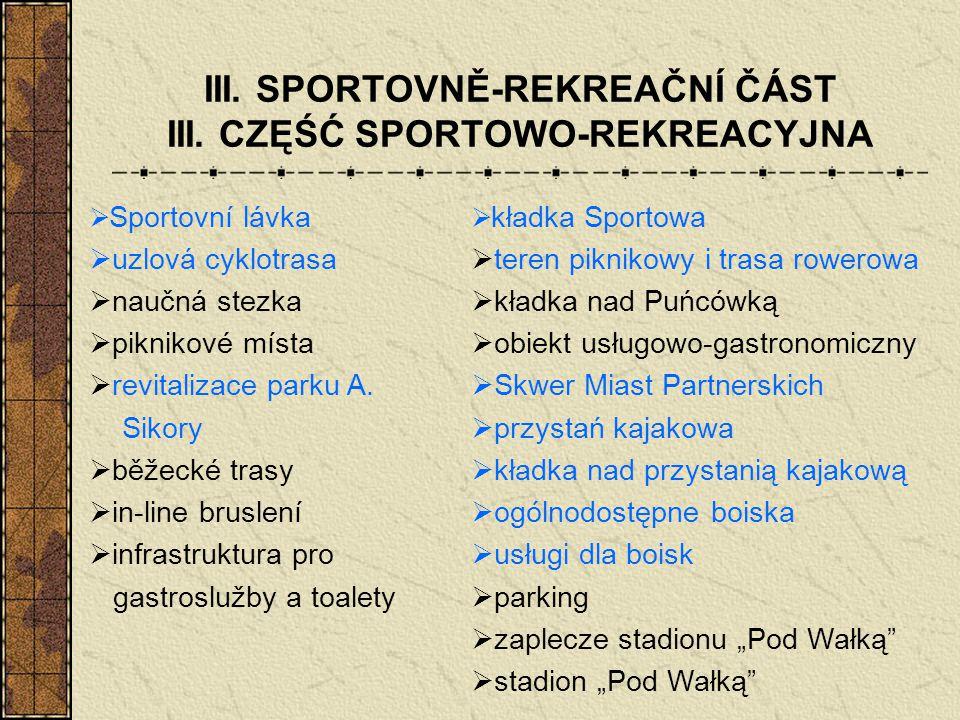 III. SPORTOVNĚ-REKREAČNÍ ČÁST III. CZĘŚĆ SPORTOWO-REKREACYJNA  kładka Sportowa  teren piknikowy i trasa rowerowa  kładka nad Puńcówką  obiekt usłu