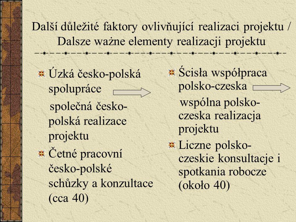 Další důležité faktory ovlivňující realizaci projektu / Dalsze ważne elementy realizacji projektu Úzká česko-polská spolupráce společná česko- polská