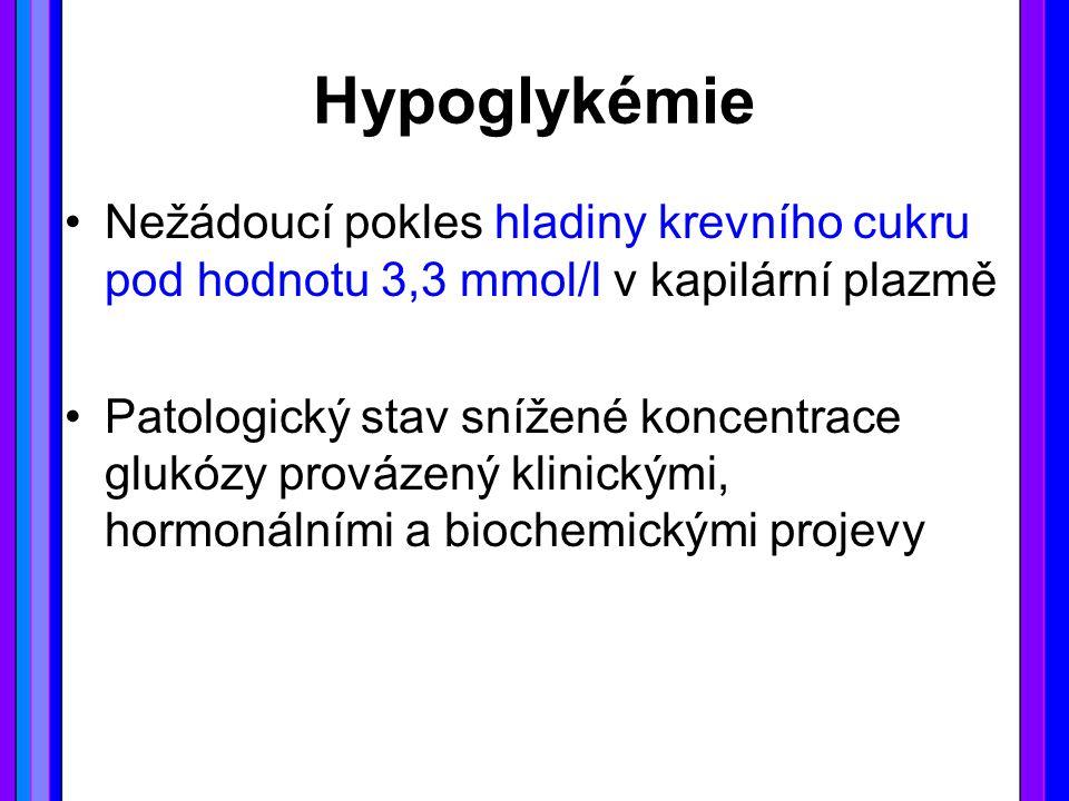 Hypoglykémie Nežádoucí pokles hladiny krevního cukru pod hodnotu 3,3 mmol/l v kapilární plazmě Patologický stav snížené koncentrace glukózy provázený klinickými, hormonálními a biochemickými projevy