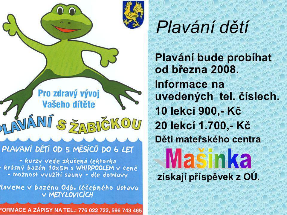 Plavání dětí Plavání bude probíhat od března 2008.