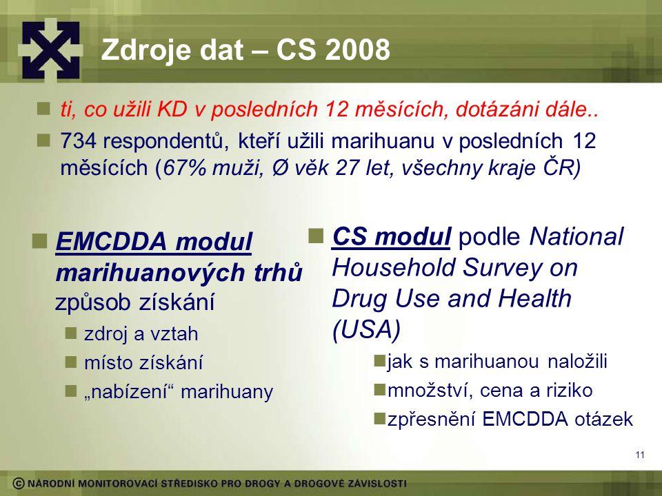"""11 Zdroje dat – CS 2008 EMCDDA modul marihuanových trhů způsob získání zdroj a vztah místo získání """"nabízení marihuany CS modul podle National Household Survey on Drug Use and Health (USA) jak s marihuanou naložili množství, cena a riziko zpřesnění EMCDDA otázek ti, co užili KD v posledních 12 měsících, dotázáni dále.."""
