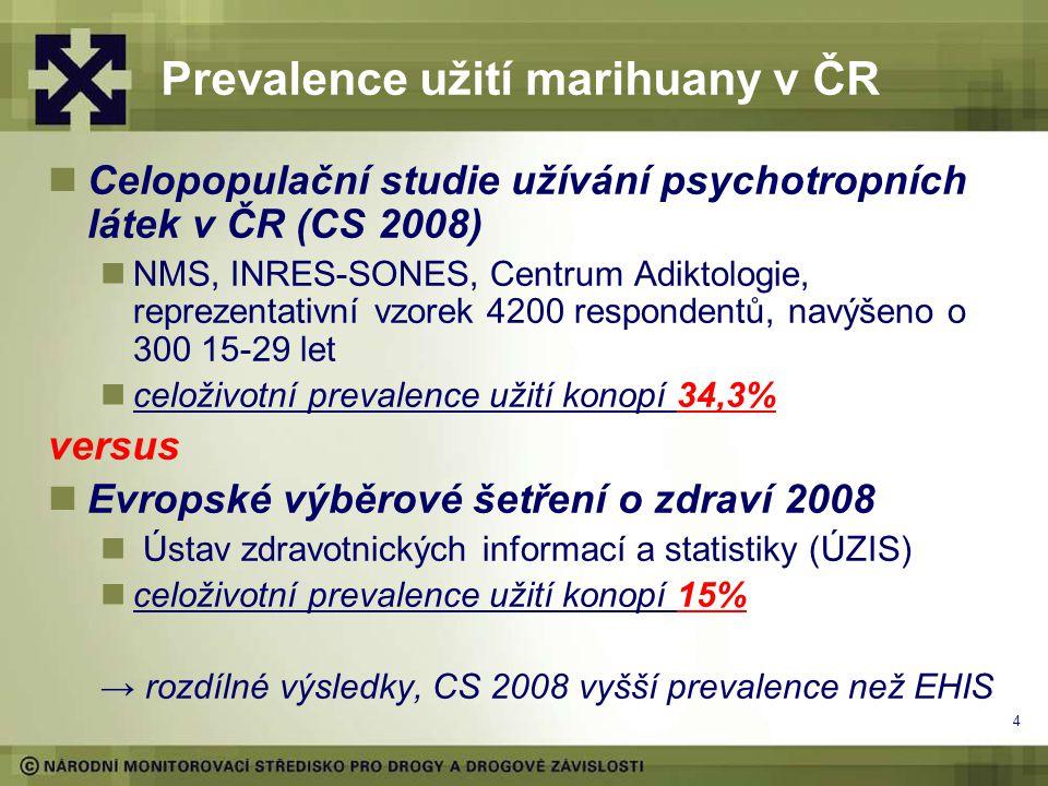 4 Prevalence užití marihuany v ČR Celopopulační studie užívání psychotropních látek v ČR (CS 2008) NMS, INRES-SONES, Centrum Adiktologie, reprezentativní vzorek 4200 respondentů, navýšeno o 300 15-29 let celoživotní prevalence užití konopí 34,3% versus Evropské výběrové šetření o zdraví 2008 Ústav zdravotnických informací a statistiky (ÚZIS) celoživotní prevalence užití konopí 15% → rozdílné výsledky, CS 2008 vyšší prevalence než EHIS