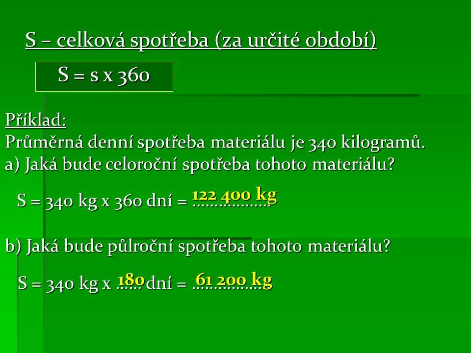 S – celková spotřeba (za určité období) S = s x 360 Příklad: Průměrná denní spotřeba materiálu je 340 kilogramů.