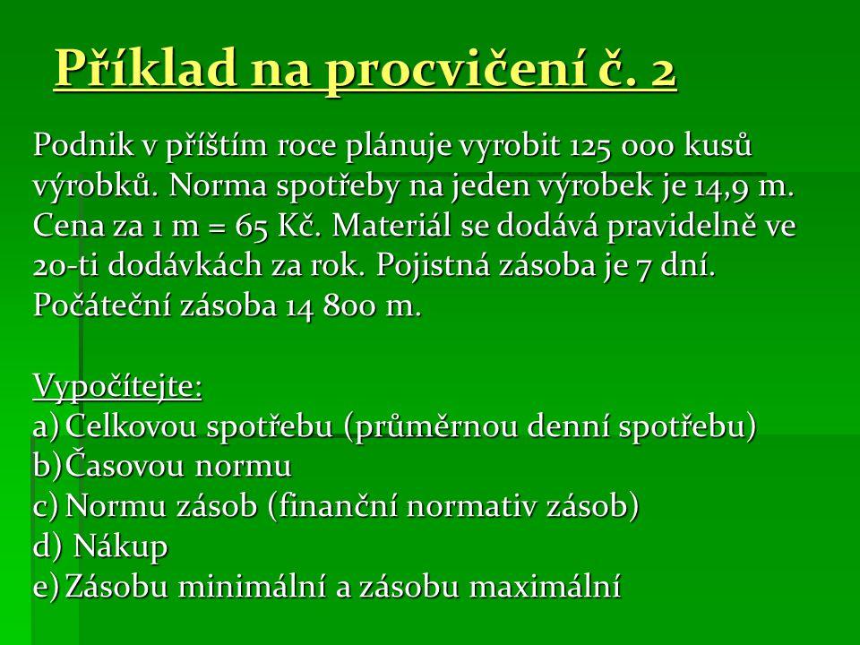 Příklad na procvičení č. 2 Podnik v příštím roce plánuje vyrobit 125 000 kusů výrobků.