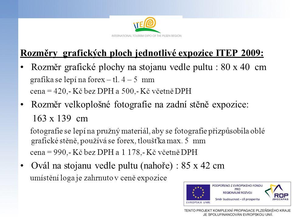 Rozměry grafických ploch jednotlivé expozice ITEP 2009: Rozměr grafické plochy na stojanu vedle pultu : 80 x 40 cm grafika se lepí na forex – tl.