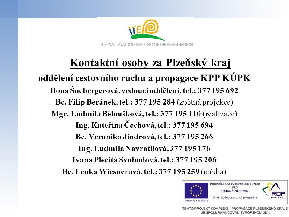 Kontaktní osoby za Plzeňský kraj oddělení cestovního ruchu a propagace KPP KÚPK Ilona Šnebergerová, vedoucí oddělení, tel.: 377 195 692 Bc.