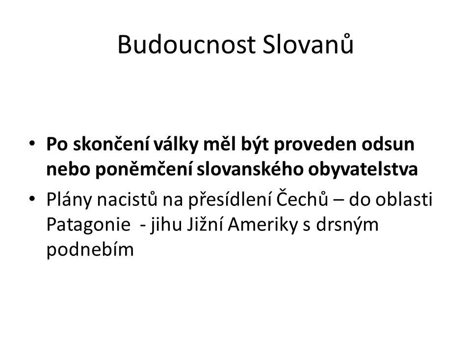Budoucnost Slovanů Po skončení války měl být proveden odsun nebo poněmčení slovanského obyvatelstva Plány nacistů na přesídlení Čechů – do oblasti Pat