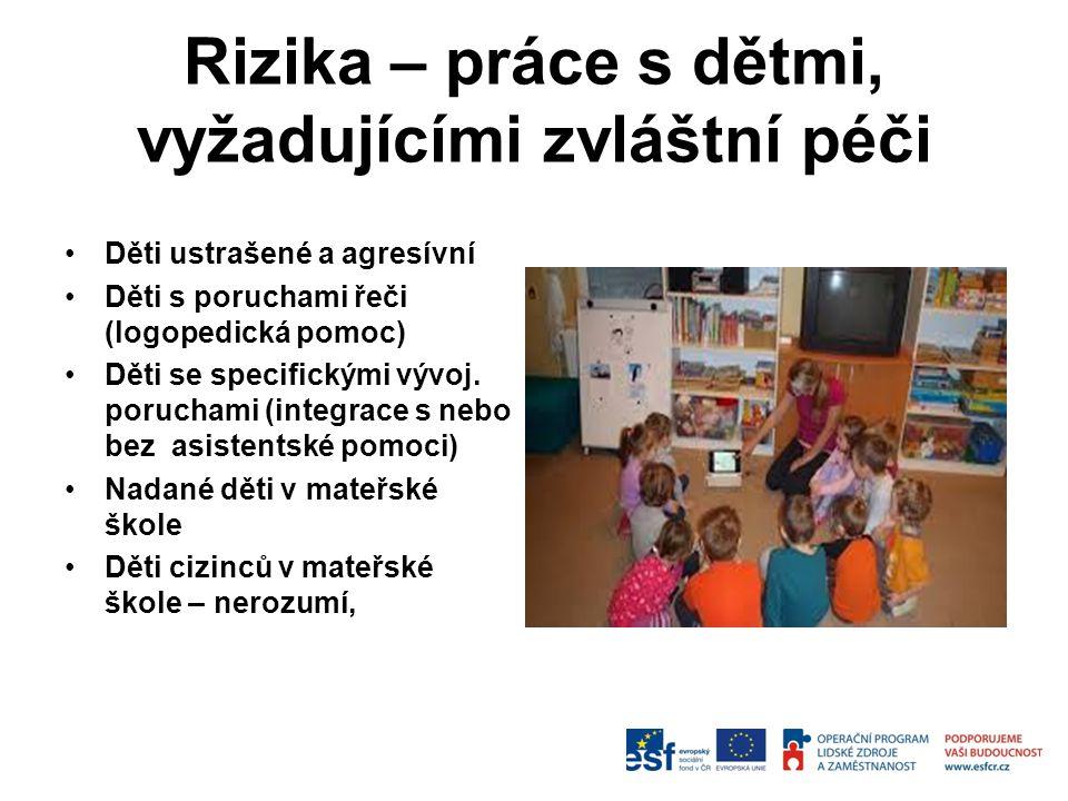 Rizika – práce s dětmi, vyžadujícími zvláštní péči Děti ustrašené a agresívní Děti s poruchami řeči (logopedická pomoc) Děti se specifickými vývoj. po