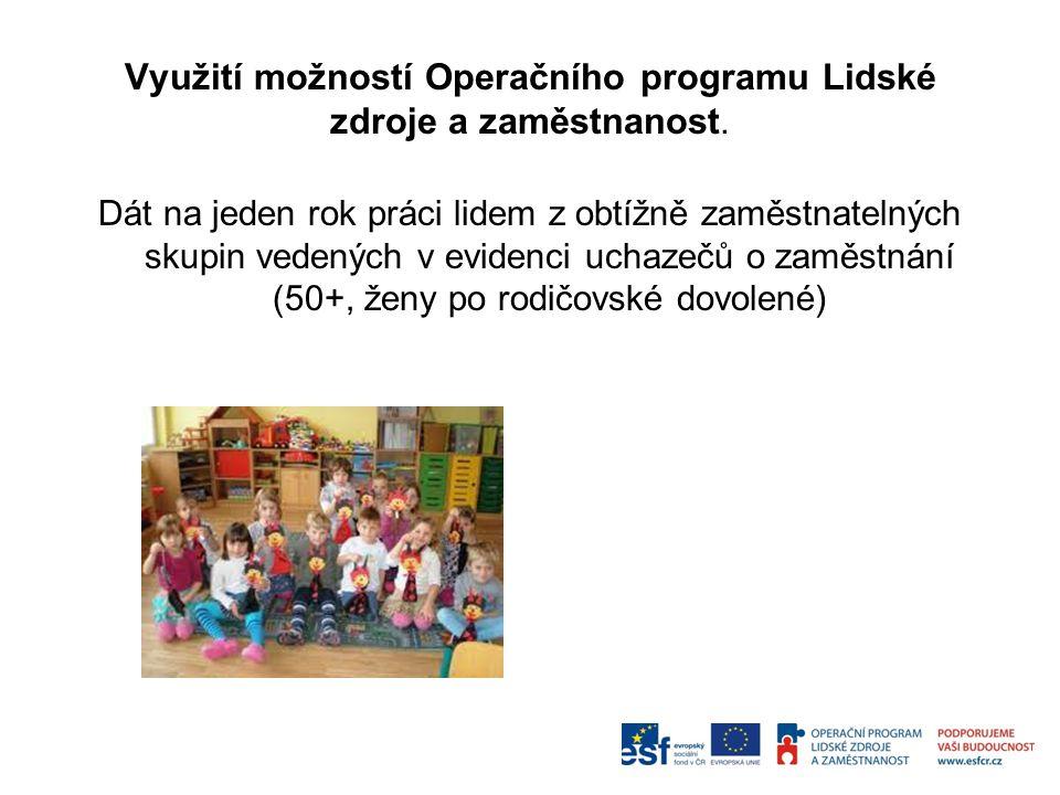Využití možností Operačního programu Lidské zdroje a zaměstnanost. Dát na jeden rok práci lidem z obtížně zaměstnatelných skupin vedených v evidenci u