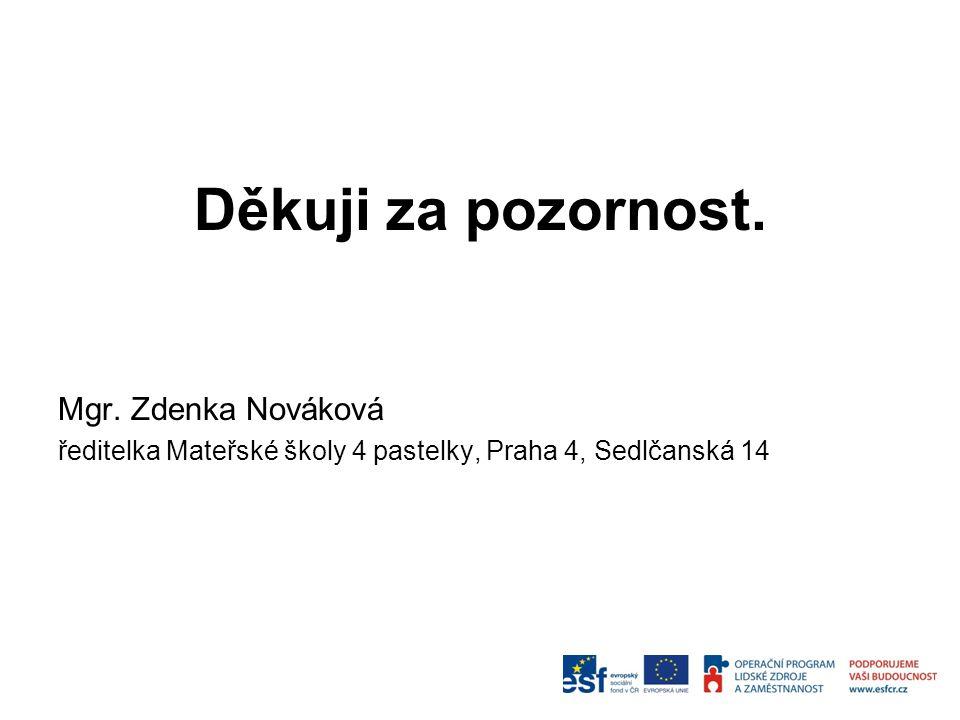 Děkuji za pozornost. Mgr. Zdenka Nováková ředitelka Mateřské školy 4 pastelky, Praha 4, Sedlčanská 14