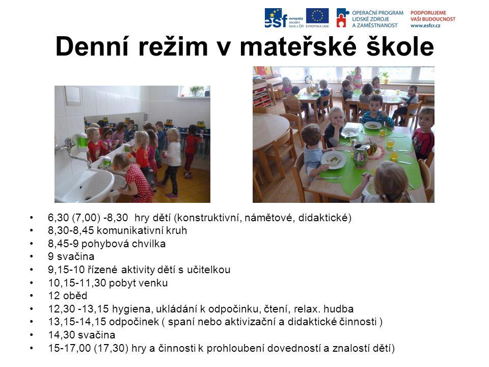Denní režim v mateřské škole 6,30 (7,00) -8,30 hry dětí (konstruktivní, námětové, didaktické) 8,30-8,45 komunikativní kruh 8,45-9 pohybová chvilka 9 s