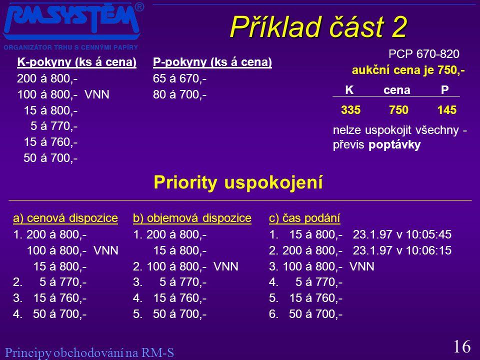 16 Příklad část 2 PCP 670-820 K-pokyny (ks á cena) 200 á 800,- 100 á 800,- VNN 15 á 800,- 5 á 770,- 15 á 760,- 50 á 700,- P-pokyny (ks á cena) 65 á 670,- 80 á 700,- 335750145 K cenaP aukční cena je 750,- nelze uspokojit všechny - převis poptávky Priority uspokojení a) cenová dispozice 1.