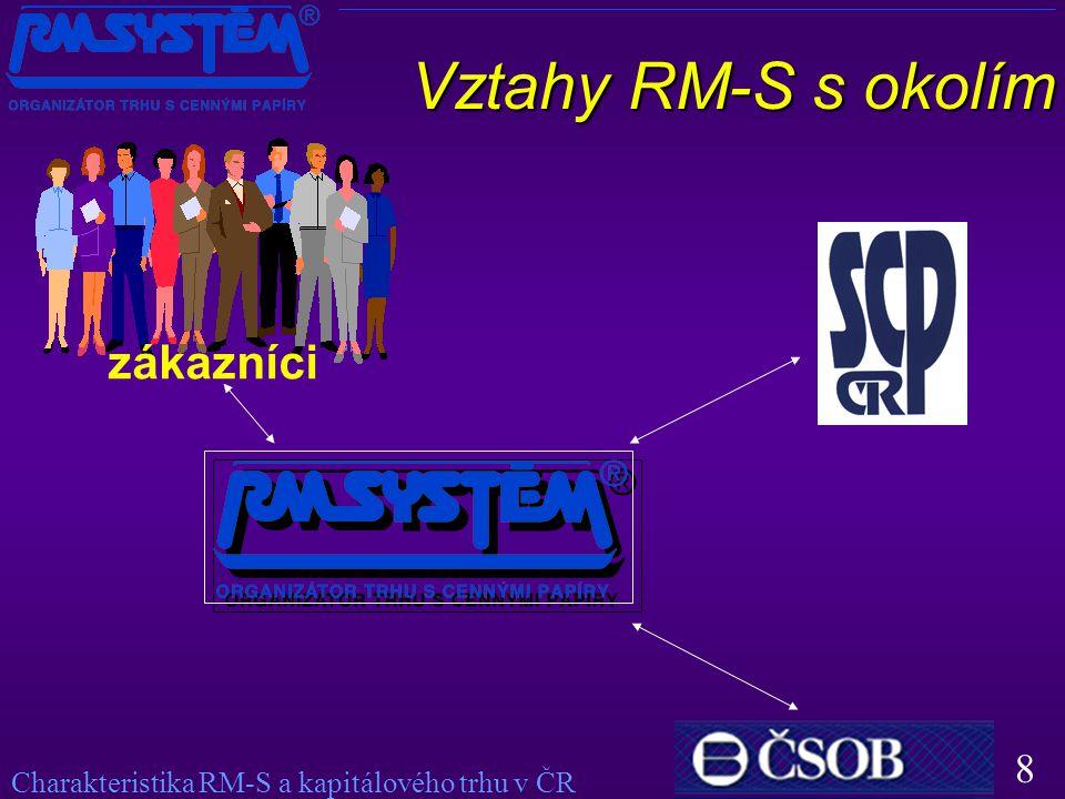 8 Vztahy RM-S s okolím zákazníci Charakteristika RM-S a kapitálového trhu v ČR