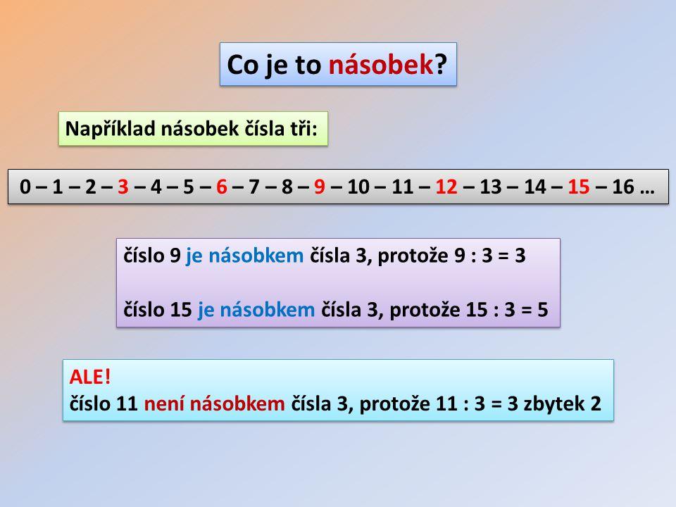 Například násobek čísla tři: 0 – 1 – 2 – 3 – 4 – 5 – 6 – 7 – 8 – 9 – 10 – 11 – 12 – 13 – 14 – 15 – 16 … Co je to násobek? číslo 9 je násobkem čísla 3,