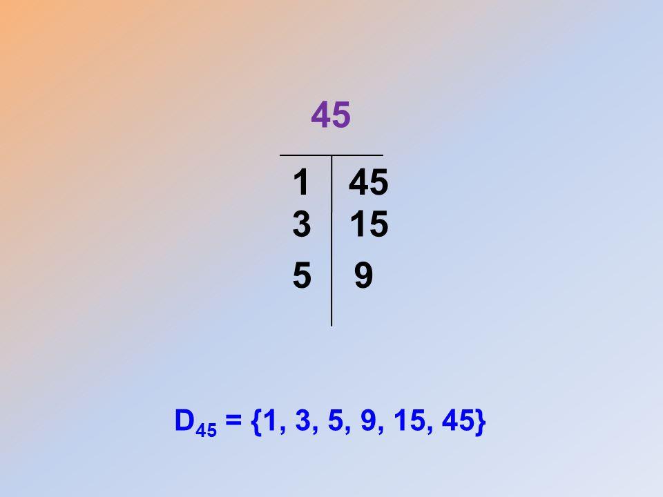 45 D 45 = {1, 3, 5, 9, 15, 45} 1 153 95