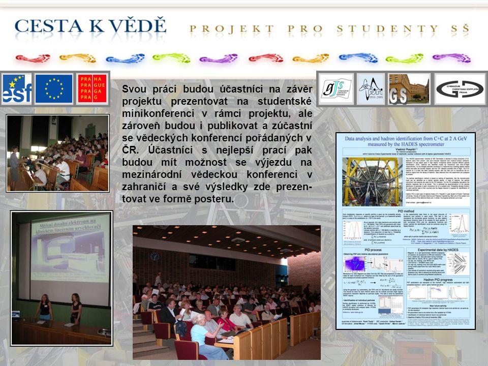 Svou práci budou účastníci na závěr projektu prezentovat na studentské minikonferenci v rámci projektu, ale zároveň budou i publikovat a zúčastní se v