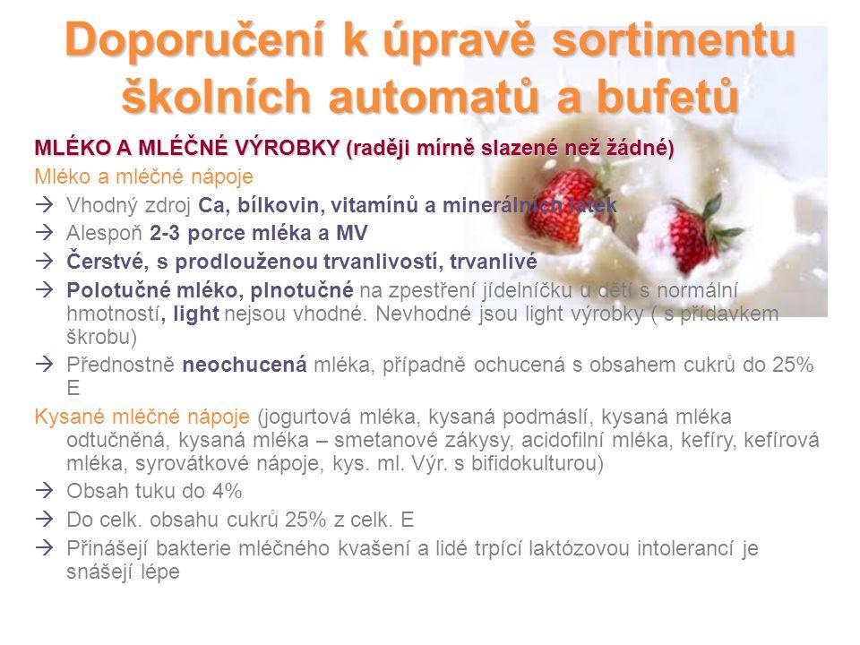 Doporučení k úpravě sortimentu školních automatů a bufetů MLÉKO A MLÉČNÉ VÝROBKY (raději mírně slazené než žádné) Mléko a mléčné nápoje  Vhodný zdroj