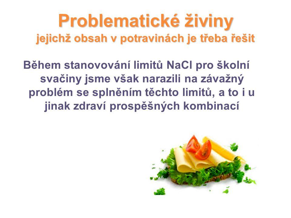 Problematické živiny jejichž obsah v potravinách je třeba řešit Během stanovování limitů NaCl pro školní svačiny jsme však narazili na závažný problém