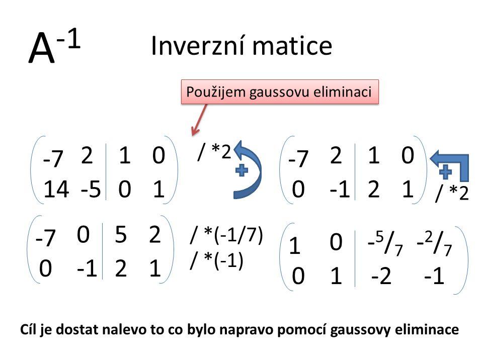 Inverzní matice 14-5 -7 2 A -1 01 10 Cíl je dostat nalevo to co bylo napravo pomocí gaussovy eliminace Použijem gaussovu eliminaci / *2 0 -7 2 21 10 /