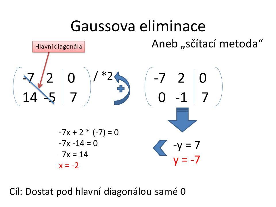"""Gaussova eliminace Aneb """"sčítací metoda"""" Cíl: Dostat pod hlavní diagonálou samé 0 Hlavní diagonála 14-57 -720 / *2 07 -720 -y = 7 y = -7 -7x + 2 * (-7"""