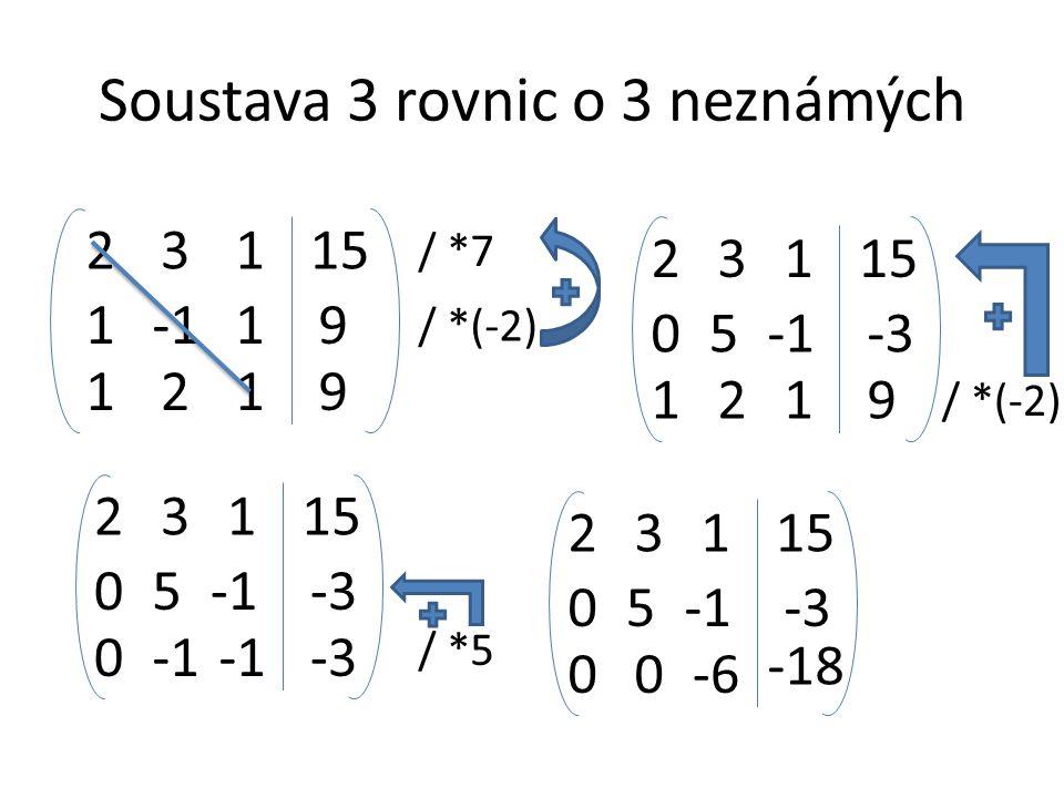 Soustava 3 rovnic o 3 neznámých 19 2315 129 1 1 1 / *7 / *(-2) 05-3 2315 129 1 1 / *(-2) 05-3 2315 0-3 1 / *5 05-3 2315 00 -18 1 -6