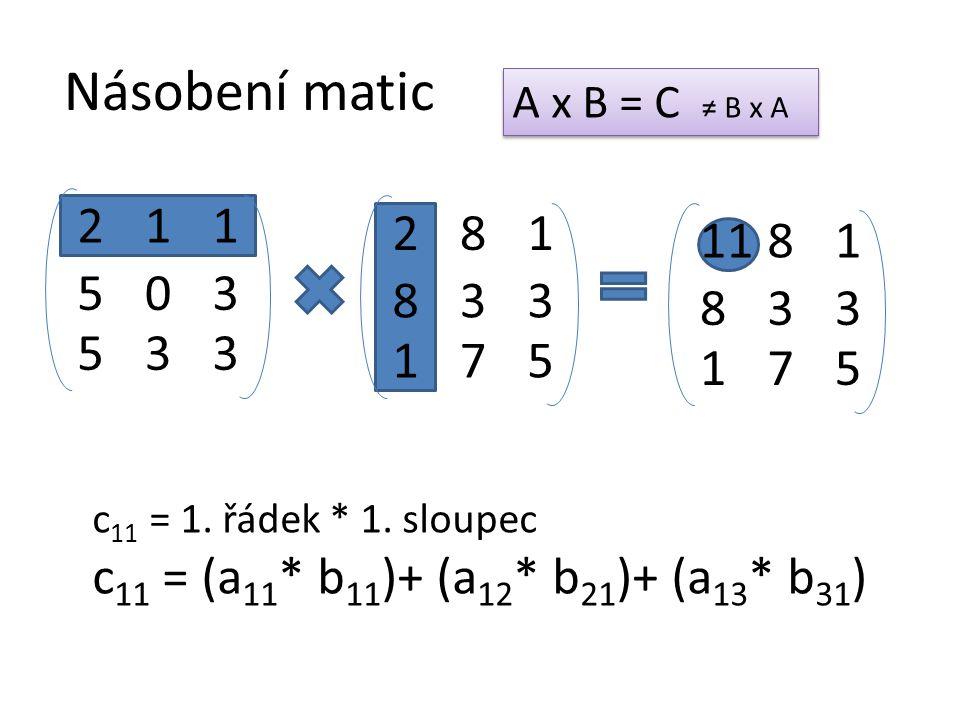 Násobení matic 50 21 53 3 1 3 A x B = C ≠ B x A 83 28 17 3 1 5 83 118 17 3 1 5 c 11 = 1. řádek * 1. sloupec c 11 = (a 11 * b 11 )+ (a 12 * b 21 )+ (a