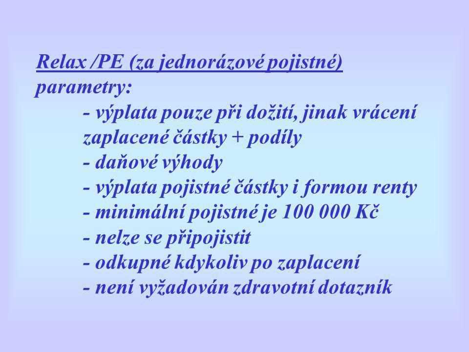 Relax /PE (za jednorázové pojistné) parametry: - výplata pouze při dožití, jinak vrácení zaplacené částky + podíly - daňové výhody - výplata pojistné