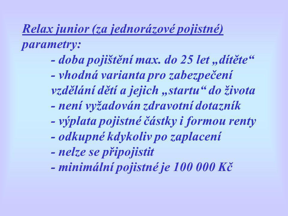 """Relax junior (za jednorázové pojistné) parametry: - doba pojištění max. do 25 let """"dítěte"""" - vhodná varianta pro zabezpečení vzdělání dětí a jejich """"s"""