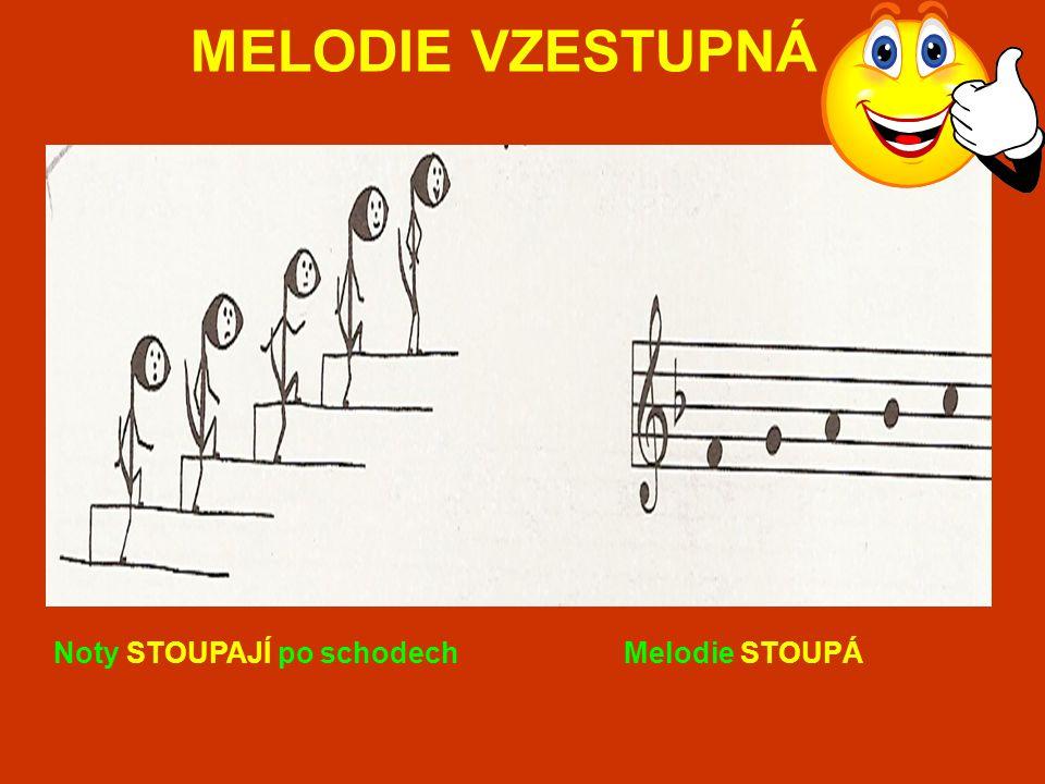 MELODIE VZESTUPNÁ Noty STOUPAJÍ po schodech Melodie STOUPÁ
