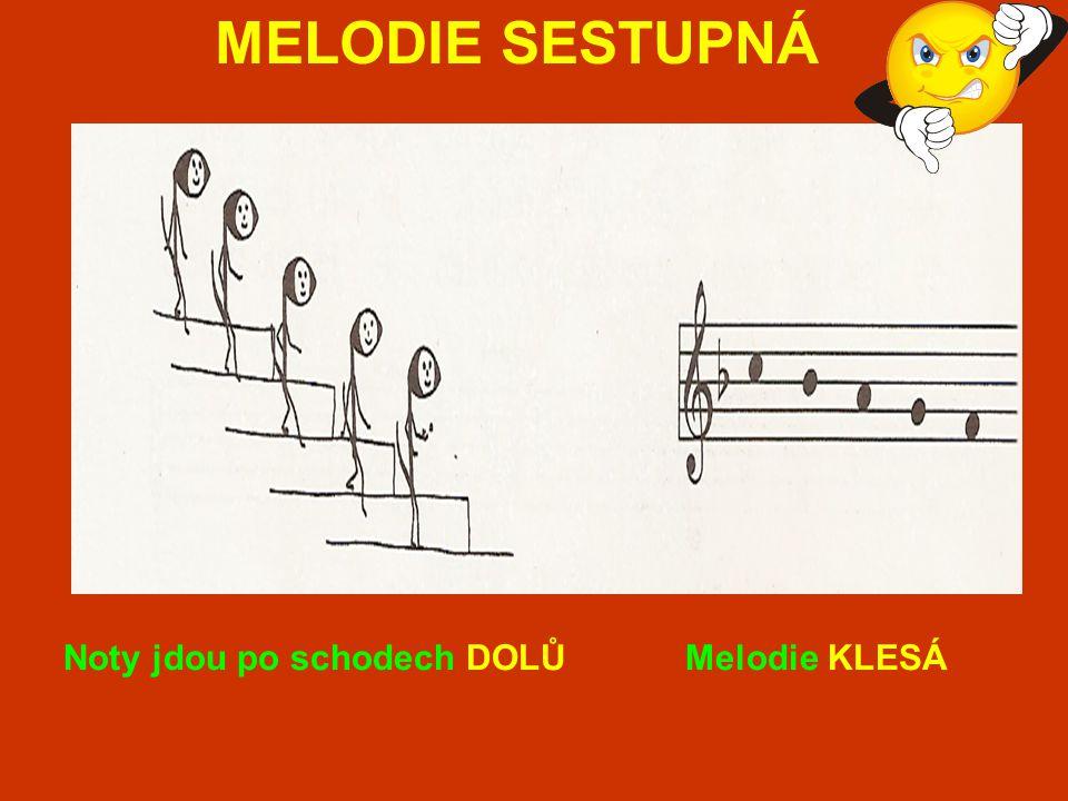 MELODIE SESTUPNÁ Noty jdou po schodech DOLŮ Melodie KLESÁ