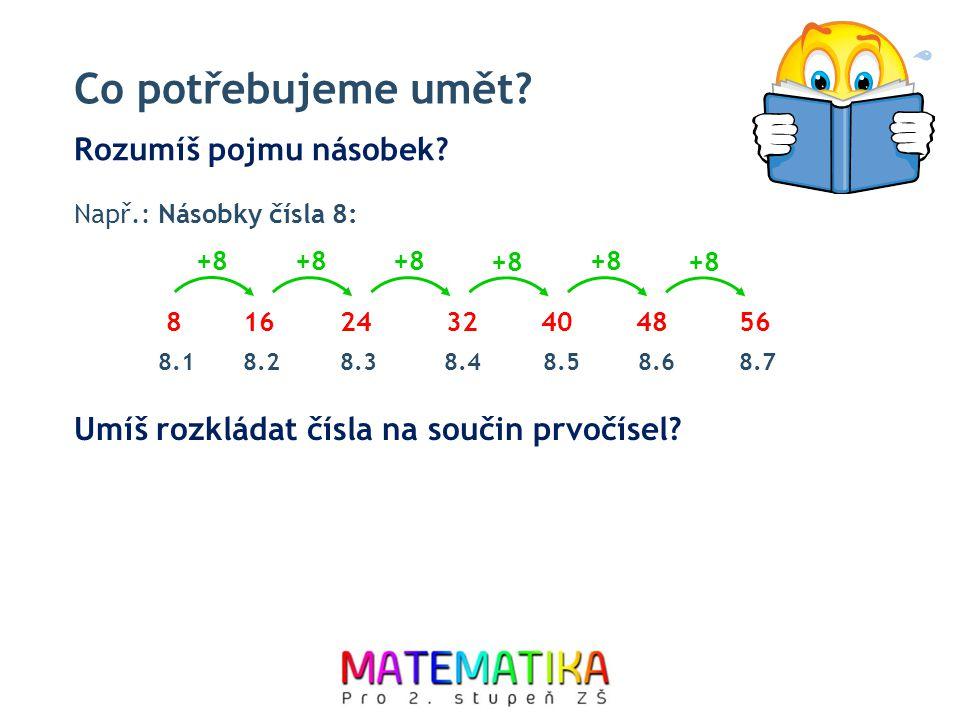 Co potřebujeme umět? Rozumíš pojmu násobek? 816243240 +8 4856 8.18.28.38.48.58.68.7 Např.: Násobky čísla 8: Umíš rozkládat čísla na součin prvočísel?