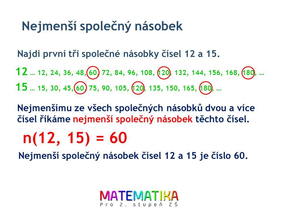Nejmenší společný násobek Nejmenšímu ze všech společných násobků dvou a více čísel říkáme nejmenší společný násobek těchto čísel. Najdi první tři spol