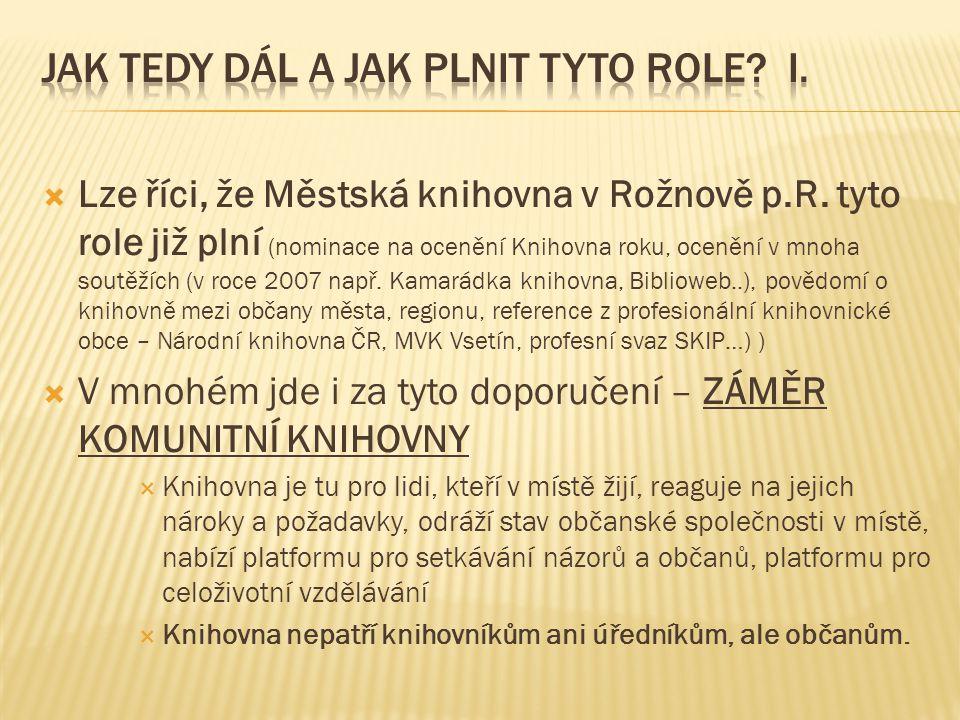  Lze říci, že Městská knihovna v Rožnově p.R. tyto role již plní (nominace na ocenění Knihovna roku, ocenění v mnoha soutěžích (v roce 2007 např. Kam