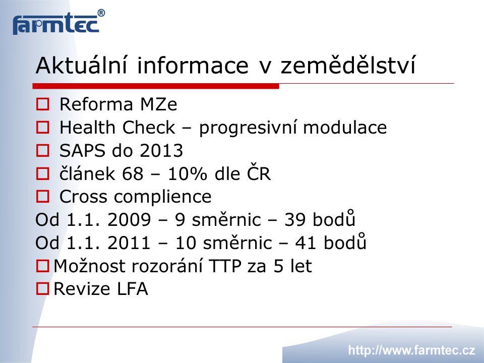 Aktuální informace v zemědělství  Reforma MZe  Health Check – progresivní modulace  SAPS do 2013  článek 68 – 10% dle ČR  Cross complience Od 1.1