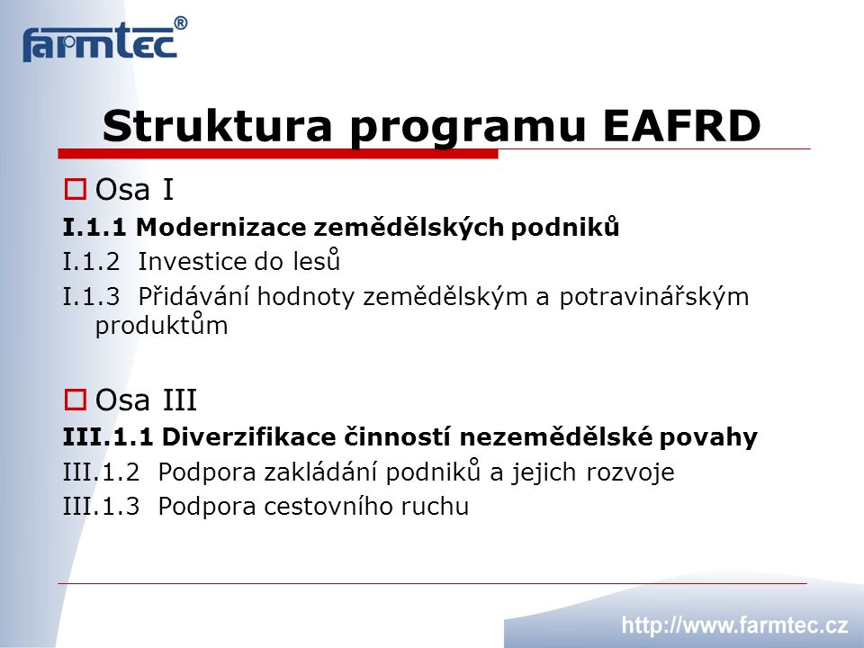 Struktura programu EAFRD  Osa I I.1.1 Modernizace zemědělských podniků I.1.2 Investice do lesů I.1.3 Přidávání hodnoty zemědělským a potravinářským p