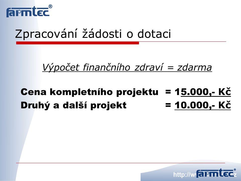 Zpracování žádosti o dotaci Výpočet finančního zdraví = zdarma Cena kompletního projektu= 15.000,- Kč Druhý a další projekt = 10.000,- Kč