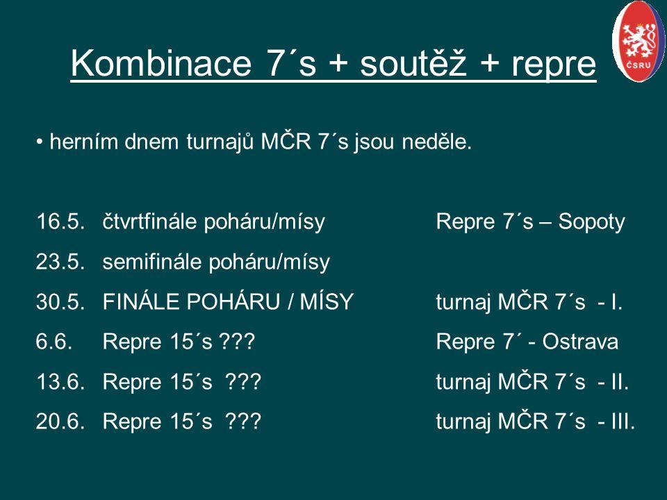 herním dnem turnajů MČR 7´s jsou neděle. 16.5.