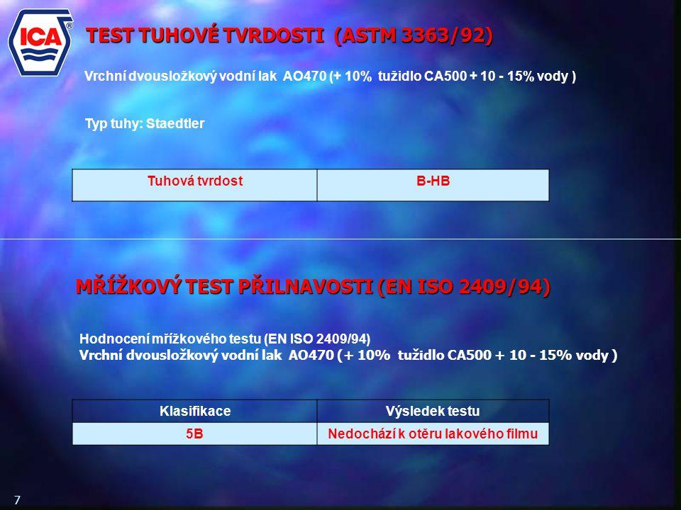 7 TEST TUHOVÉ TVRDOSTI (ASTM 3363/92) Vrchní dvousložkový vodní lak AO470 (+ 10% tužidlo CA500 + 10 - 15% vody ) Typ tuhy: Staedtler Tuhová tvrdostB-HB Hodnocení mřížkového testu (EN ISO 2409/94) Vrchní dvousložkový vodní lak AO470 (+ 10% tužidlo CA500 + 10 - 15% vody ) KlasifikaceVýsledek testu 5BNedochází k otěru lakového filmu MŘÍŽKOVÝ TEST PŘILNAVOSTI (EN ISO 2409/94)