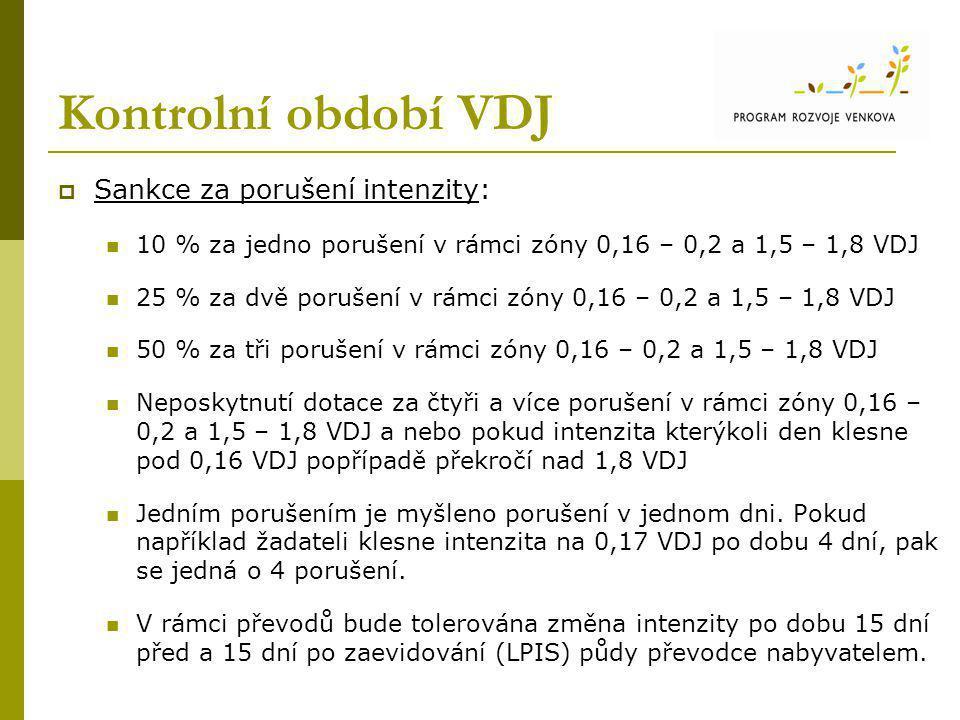 Kontrolní období VDJ  Sankce za porušení intenzity: 10 % za jedno porušení v rámci zóny 0,16 – 0,2 a 1,5 – 1,8 VDJ 25 % za dvě porušení v rámci zóny 0,16 – 0,2 a 1,5 – 1,8 VDJ 50 % za tři porušení v rámci zóny 0,16 – 0,2 a 1,5 – 1,8 VDJ Neposkytnutí dotace za čtyři a více porušení v rámci zóny 0,16 – 0,2 a 1,5 – 1,8 VDJ a nebo pokud intenzita kterýkoli den klesne pod 0,16 VDJ popřípadě překročí nad 1,8 VDJ Jedním porušením je myšleno porušení v jednom dni.