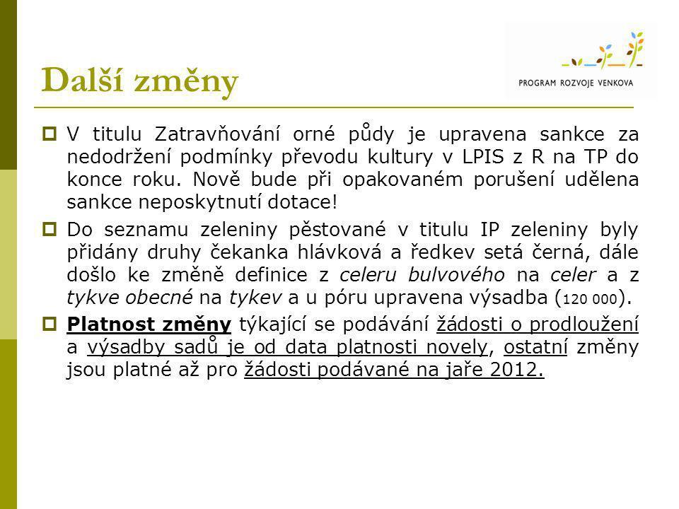 Další změny  V titulu Zatravňování orné půdy je upravena sankce za nedodržení podmínky převodu kultury v LPIS z R na TP do konce roku.