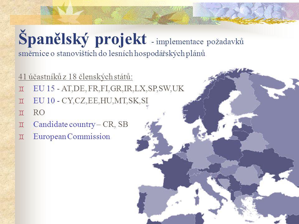 41 účastníků z 18 členských států: ` EU 15 - AT,DE, FR,FI,GR,IR,LX,SP,SW,UK ` EU 10 - CY,CZ,EE,HU,MT,SK,SI ` RO ` Candidate country – CR, SB ` European Commission Španělský projekt - implementace požadavků směrnice o stanovištích do lesních hospodářských plánů
