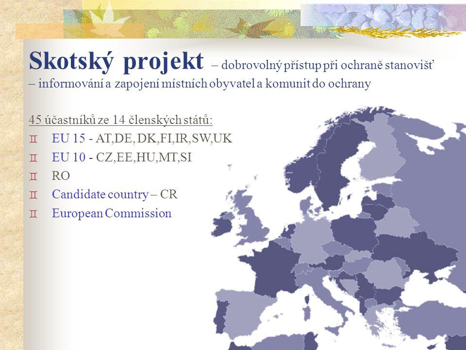 45 účastníků ze 14 členských států: ` EU 15 - AT,DE, DK,FI,IR,SW,UK ` EU 10 - CZ,EE,HU,MT,SI ` RO ` Candidate country – CR ` European Commission Skotský projekt – dobrovolný přístup při ochraně stanovišť – informování a zapojení místních obyvatel a komunit do ochrany