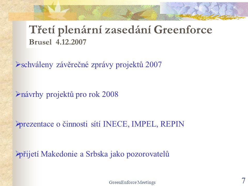 GreenEnforce Meetings 7  schváleny závěrečné zprávy projektů 2007  návrhy projektů pro rok 2008  prezentace o činnosti sítí INECE, IMPEL, REPIN  p